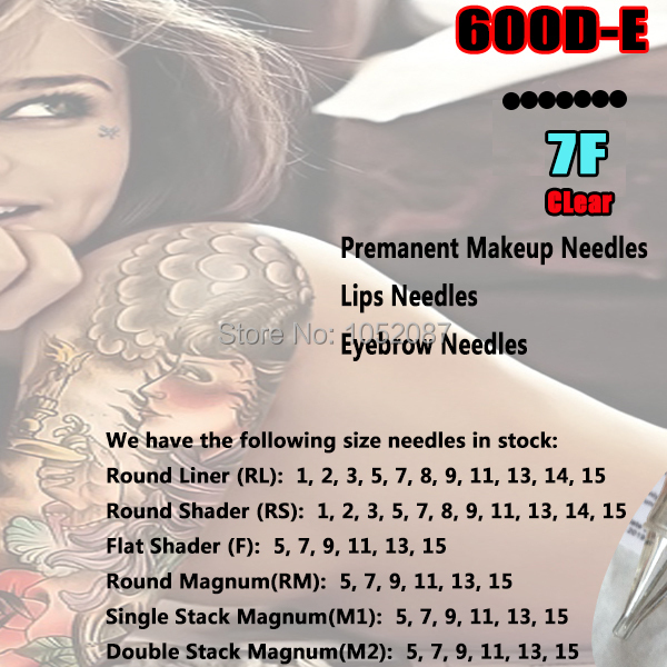 Clear 600D-E Lips Needles Tattoo & Permanent Makeup Rotary Machine Needles 7F for Hawk Style Gun Free Shipping