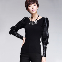 Women winter clothing leather and fur striped lantern sleeve slim knitwear sweaters and pullovers 2015 female Tops undershirt(China (Mainland))