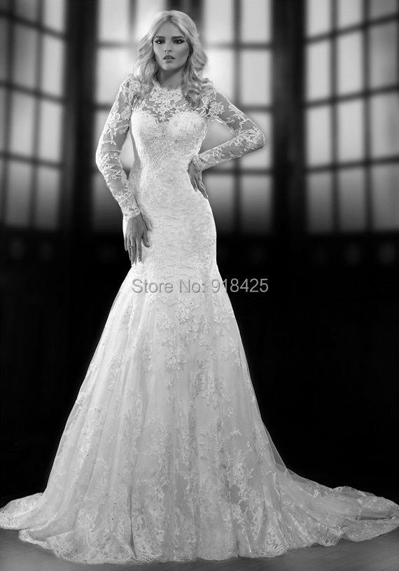 Custom size lace long sleeve wedding dresses sexy open for Fitted lace wedding dress with open back