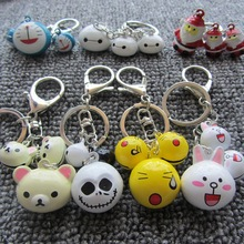 New Fashion Cartoon Keychain Promotional Gift Silver Plated Key Ring Christmas Bell Key Chain Pendant Jewelry Lover Gift(China (Mainland))