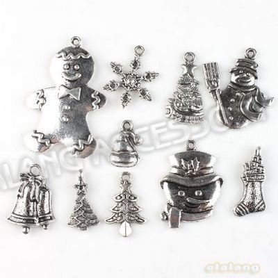 New 60pcs/lot Christmas Decoration Assorted Charm Pendant Antique Alloy Silver Plated Jewelry Finding Fit Jewerly DIY 142766(China (Mainland))