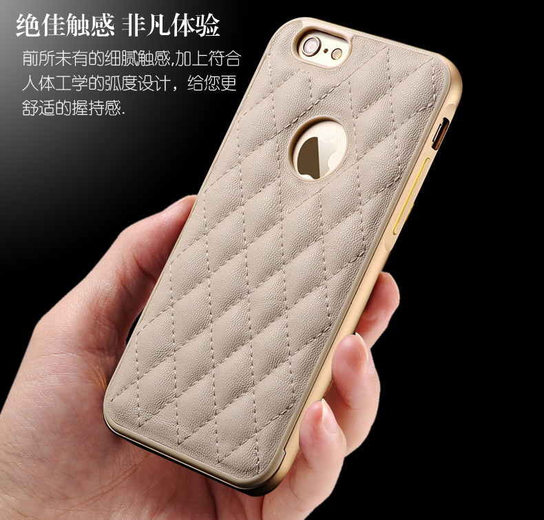 5 5S SE Luxury Genuine Leather Back Cover for Apple IPhone 6 6S plus Cell Phone Case Metal case Rhombus Fundas Cuir case
