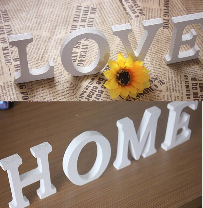 Love english letter 3d wall sticker wooden word letter for Decoration word