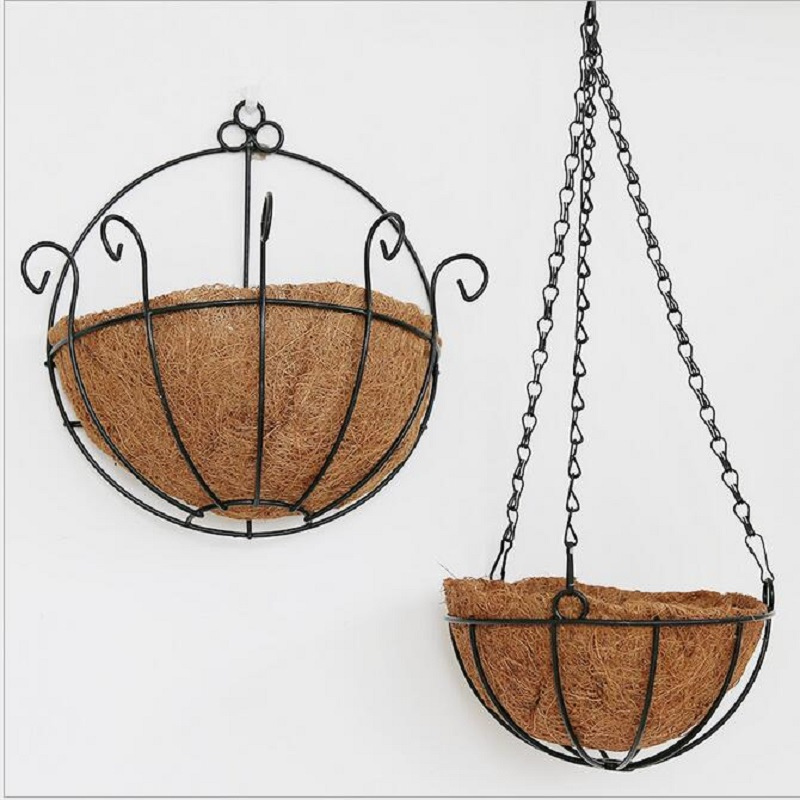 Cheapest Silk Flower Hanging Baskets : Idyllic coir pots wrought iron wall hanging basket flower