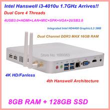 Silver Linux Ubuntu XBMC DX11 Thin Mini PC With Core i3 4010U HD 4400 Graphic Cards 8G DDR3 RAM 128G SSD Fanless System