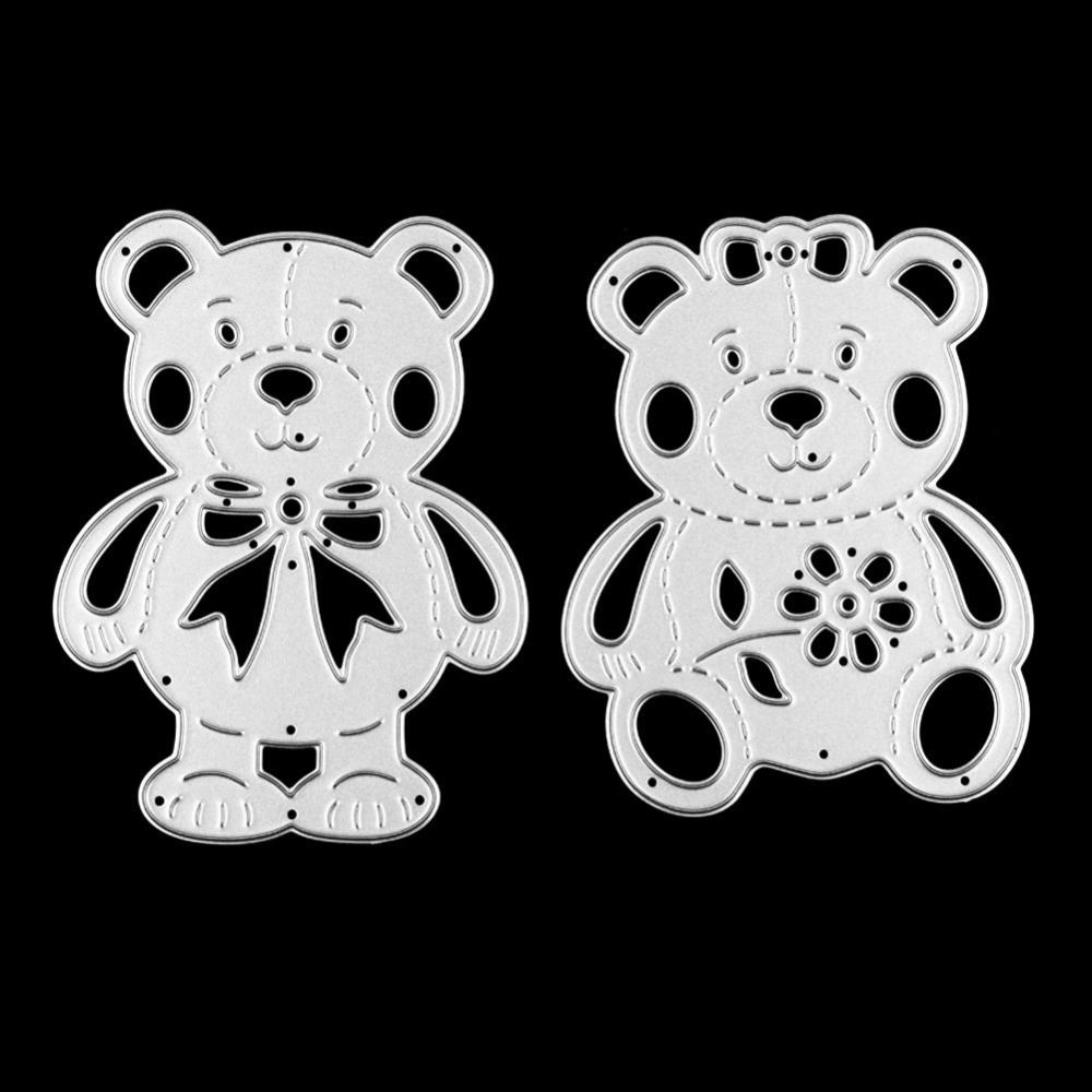 2 Pcs Cute Bear Couple Metal Cutting Dies Stencils DIY Embossing Scrapbook Album Paper Card Craft