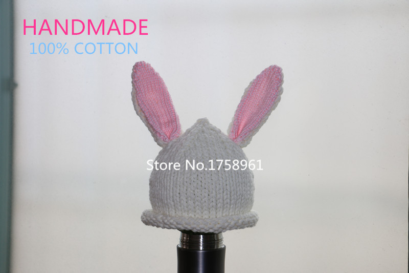 Baby Infant Hat Cap Crochet Easter Bunny Toddler Rabbit Ears Hat Knit Reborn Doll Hat Baby Photo Prop(China (Mainland))