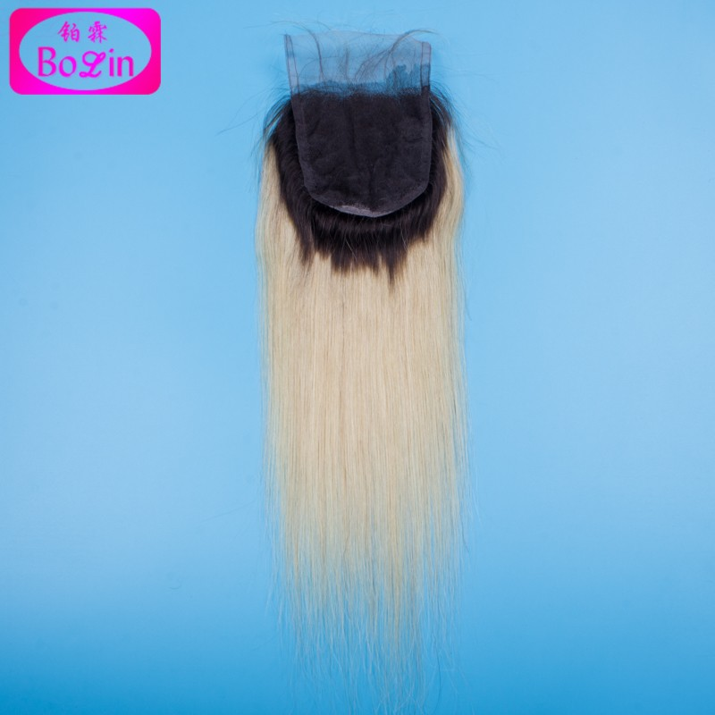Ombre Straight Hair With Closure Ombre Closure With Bundles Blonde Black Roots Extensions 1b/613 Straight 3PCS With Lace Closure