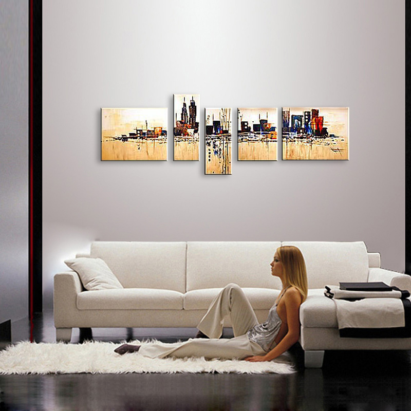 Buy hand painted oil painting on canvas modern abstract City knife painting huge wall art oil painting XD5-115 cheap
