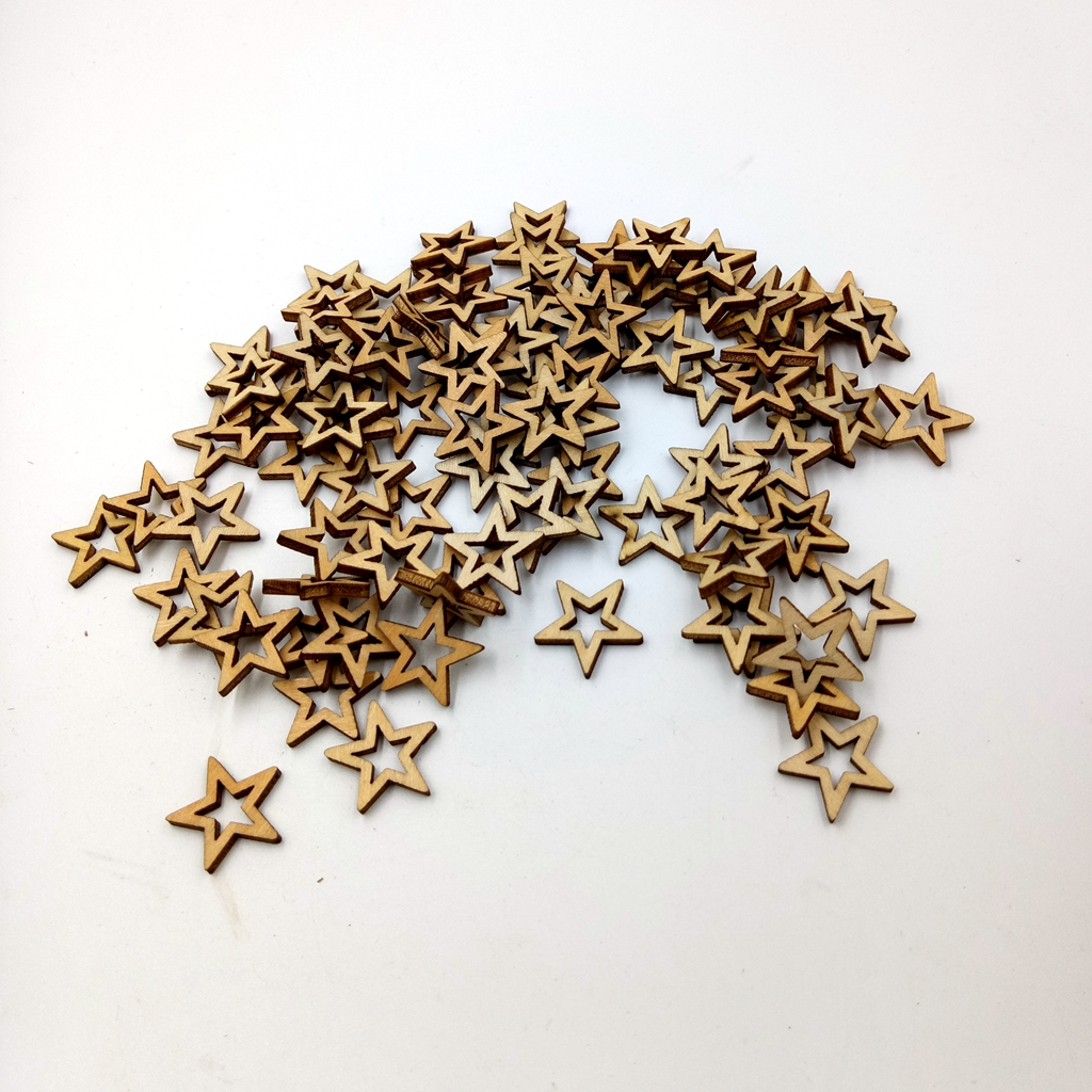 200 Pieces Wooden Embellishments Star Shapes Nature Decorations Sets for Party Wedding Holiday Decorations, 10mm / 0.39inch