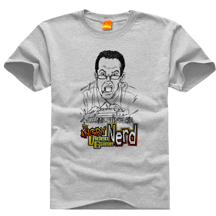 Angry Video Game Nerd O neck Casual t font b shirts b font Short Sleeve For