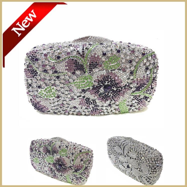Handmade Crystal Purple Ladies Women Clutch Evening Bags Free Shipping Silver Hard Shell Diamond Flower Clutch Purse 6627(China (Mainland))