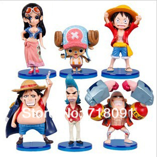 5-8CM,6PCS/SET,Q Style ONE PIECE PVC Toy Figures,Straw Hat Legion,New World,Drop Free Shipping