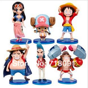 5-8CM,6PCS/SET,Q Style ONE PIECE PVC Toy Figures,Straw Hat Legion,New World,Drop Free Shipping