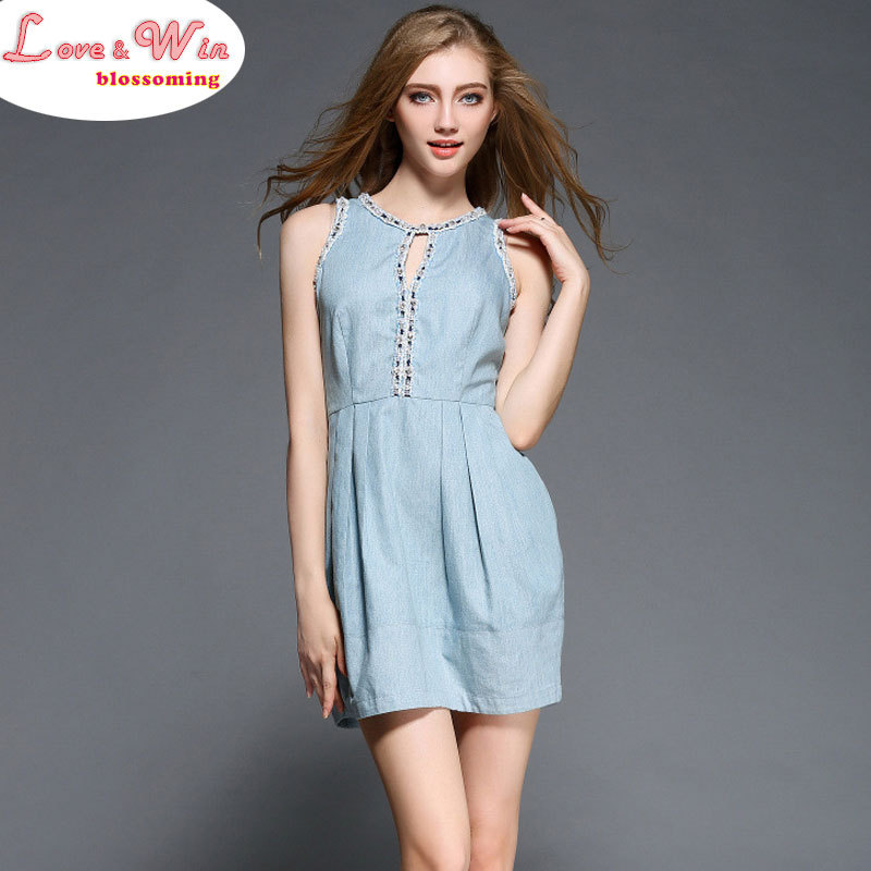 Exquisite Nail Crystal Pearls Soft Cotton Denim Dress Pleated A-Line Unique Vestidos(China (Mainland))