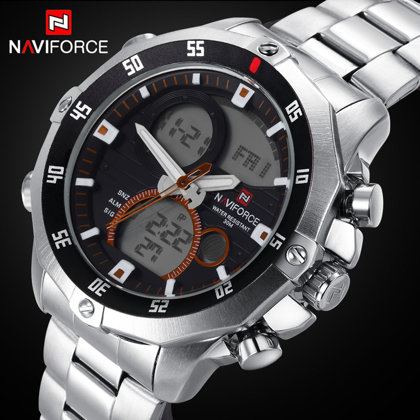 Men Watches NAVIFORCE Luxury Solid Steel Rotary Dial Quartz Clock Digital LED Hours Military Sport Watches relogio masculino<br><br>Aliexpress