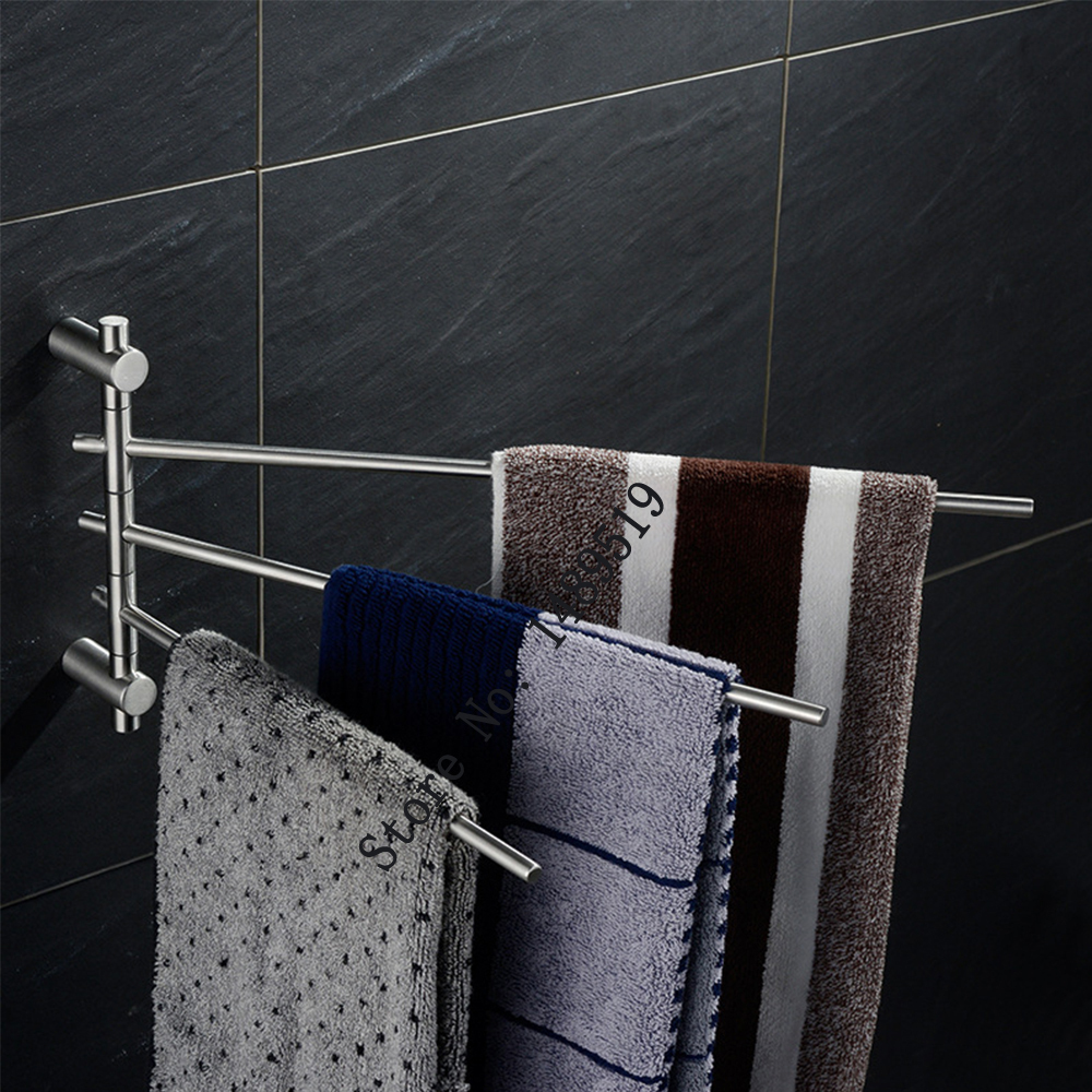 Bathroom Stainless Steel Swing Arm Towel Bar For Bathroom Towel Holder Brushed In Bath Hardware