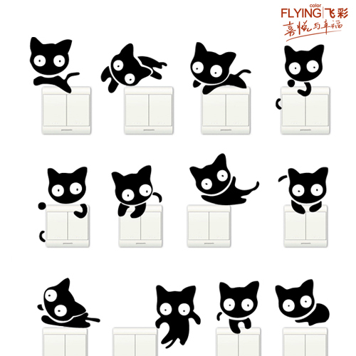 freeshipping Furnishings wall stickers switch stickers 1 set 12 cat home appliance kitchen cabinet decoration stickers 5019(China (Mainland))