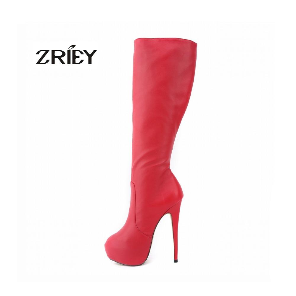 womens platform high heels leather knee wide leg stretch