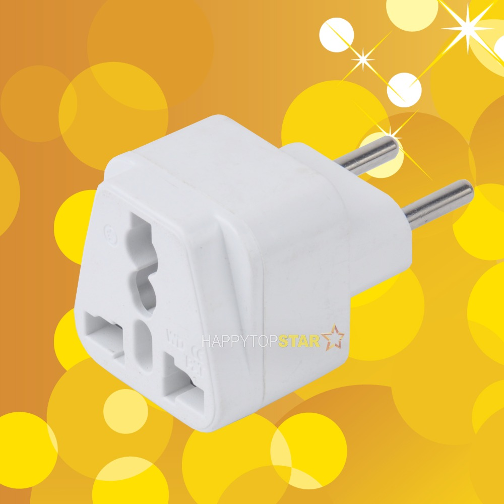 New White Universal UK/US/EU/AU to Brazil and EU EUROPE Travel Power Converter Adapter Adaptor Plug(China (Mainland))
