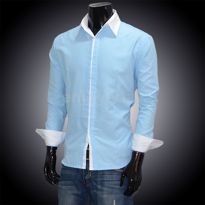 Hot sale new men dress shirt casual slim long sleeve fit for Sale on mens dress shirts