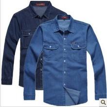 Nuevo 2016 de los hombres de mezclilla camisa masculina de manga larga más tamaño sueltan camisas denim jeans hombres camisa de ropa de trabajo para hombre TA1279(China (Mainland))