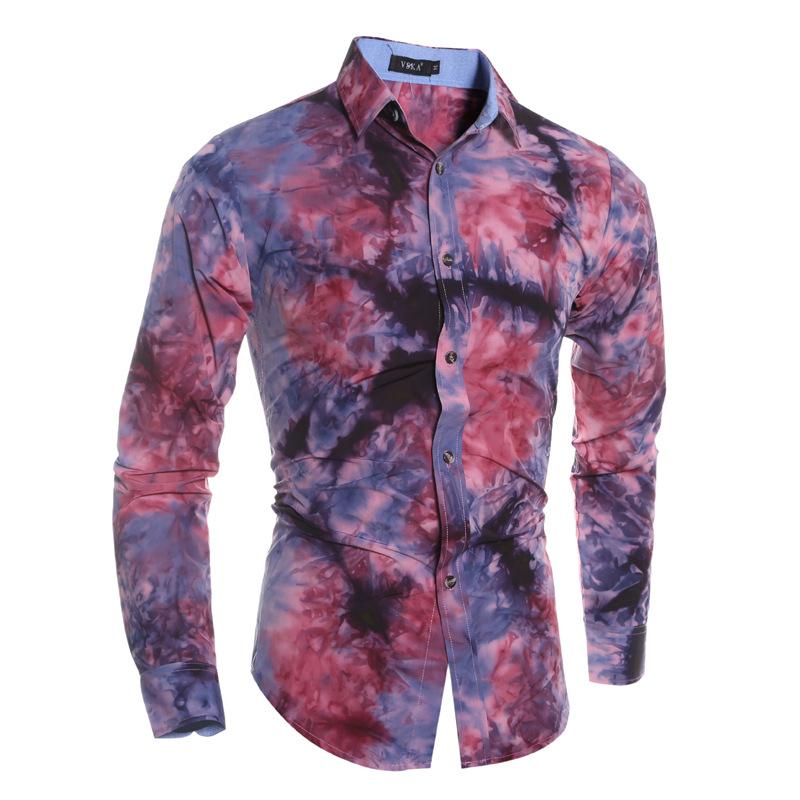 Fashion Men Shirt Slim Fit Fashion High Quality Tie Dye Printing Dress Shirts Camisa Masculina Vetement Homme Mens Clothing C40Одежда и ак�е��уары<br><br><br>Aliexpress