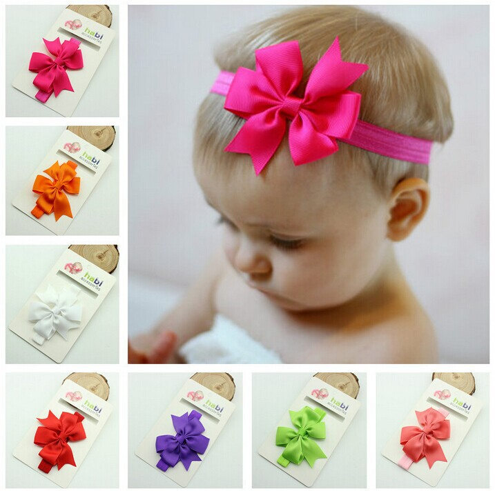 1/ color Chic Girl Hair Bow Headband DIY Satin Ribbon Big Elastic Baby Newborn Infant Toddler Bands - Warmly Family store
