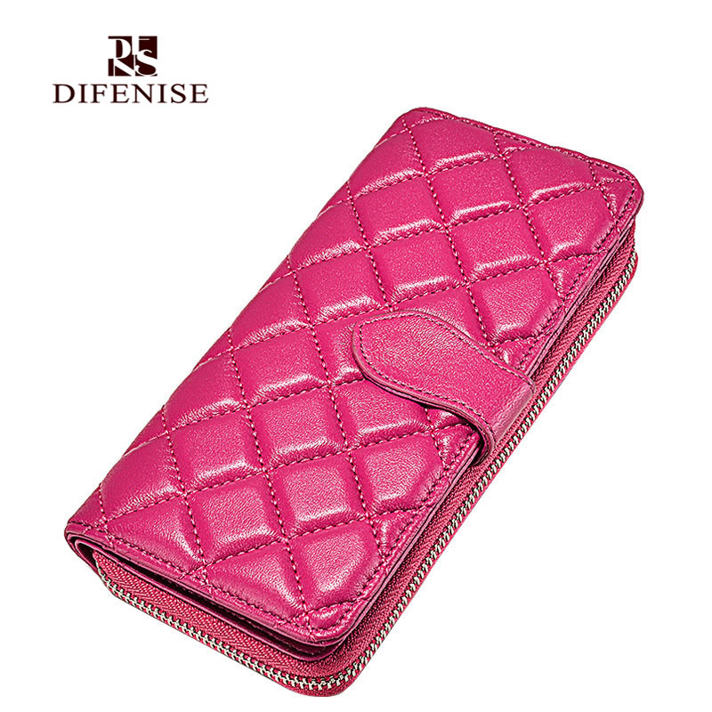 Difenise Brand Design Real Genuine Leather Women Wallets Sheep Leather Purse Clutch Bag Long Tassels Diamond Lattice Gift Box(China (Mainland))