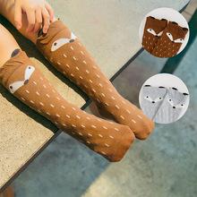 2015 nuevo bebé niñas calcetines hasta la rodilla de algodón zorro de dibujos animados lindo carácter siguiente Kid marca de ropa arranque niño calcetines envío gratis(China (Mainland))
