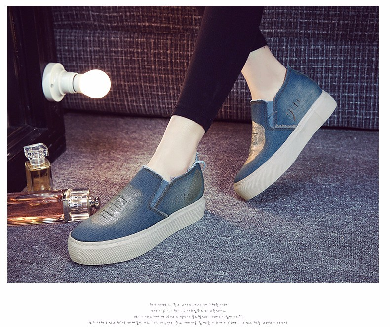 2016 New Spring Summer Fashion Style Women Denim Canvas Loafers Shoes Platform A Pedal Lazy Female Single Shoes Z3.5