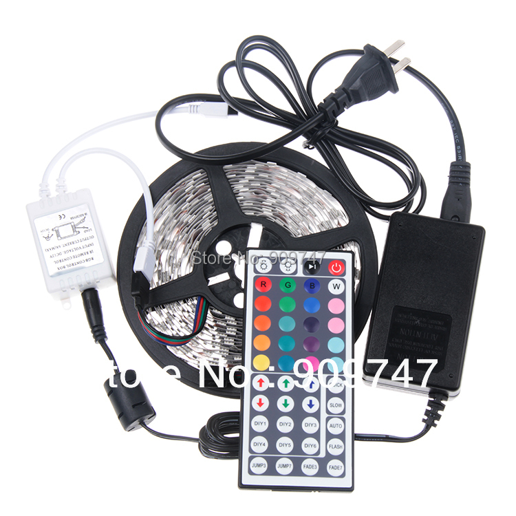 2014 decoration 5050 led strip set Non waterproof 5M 60leds/m RGB SMD LED Strip+44 Key IR remote controller+12v 5A power adapter(China (Mainland))
