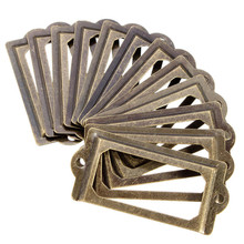 12Pcs Antique Brass Metal Label Pull Frame Handle File Name Card Holder For Furniture Cabinet Drawer Box Case Bin(China (Mainland))