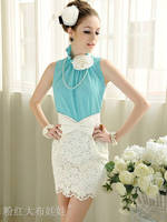 2014 new  Summer ladies blouses chiffon top shirt sleeveless sky blue,pink/white color size S,M,L