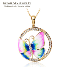 Neoglory Gold Plated Colorful Enamel Butterfly Necklaces Pendants Fashion Brand Jewelry Birthday Gifts 2016 New ENA1 JS6 But-e(China (Mainland))