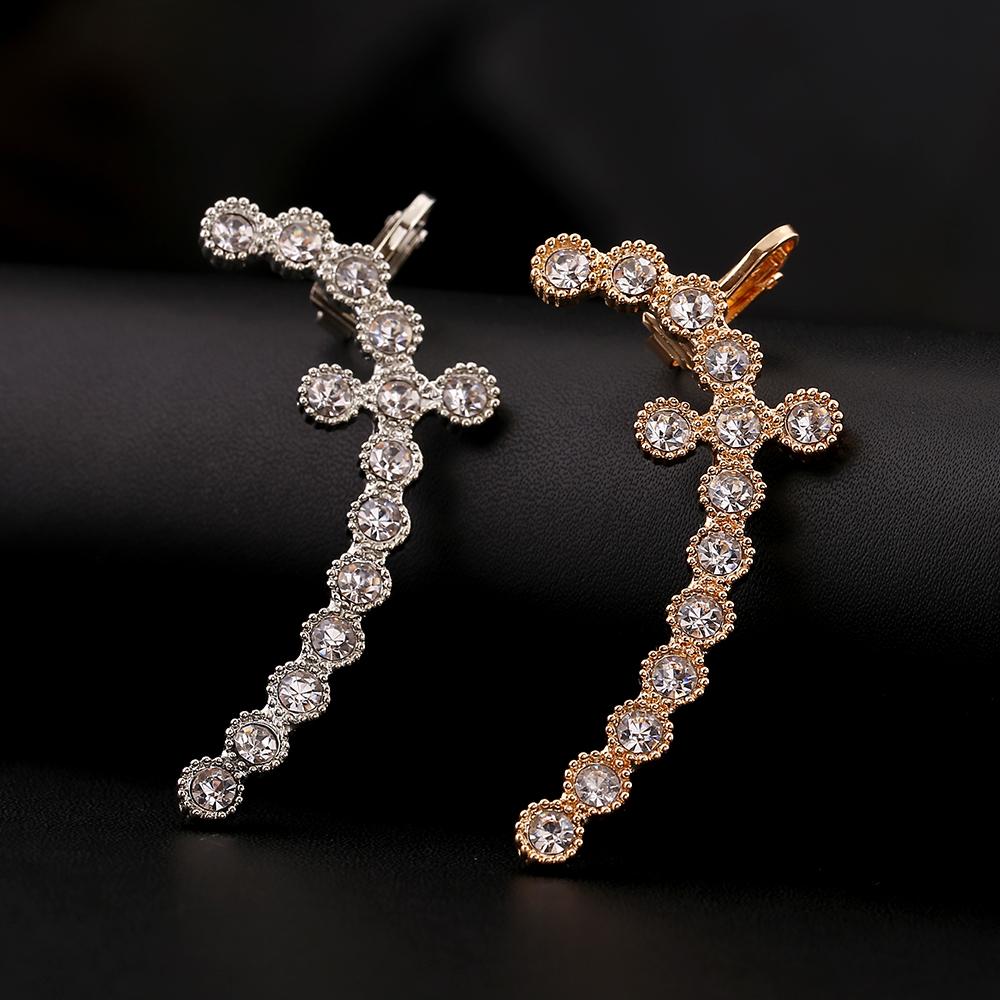 1pcs High Quality Big Zircon Ear Cuff Earring Jewelry Punk Fashion Full  Crystal Ear Clip Earrings For Women Gift