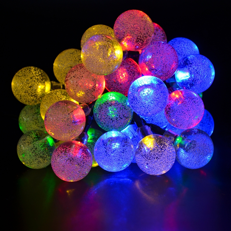 Colorful String Lights : Colorful Solar LED Bubble Christmas string lights Outdoor 6M 19.7ft 20LED Solar light for ...