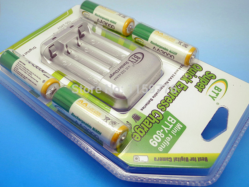 New Cheaper BTY 4 3000mAh 1 2V Rechargeable Battery AA AAA AA Battery charger Free Shipping