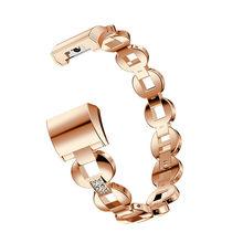 עבור Fitbit תשלום 2 קריסטל רוז זהב נירוסטה גבירותיי קישור שעון רצועת חכם צמיד שרשרת Watchbands Charge2 נשים(China)
