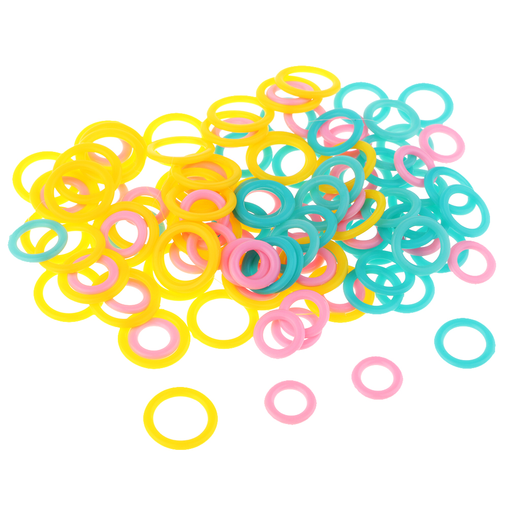 120 Pieces Mixed 2 Size Multi-Colored Stitch Marker Rings For DIY Knitting Craft