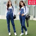 Maternity Bib Pants Cotton Pregnant Women Clothing Pockets Denim Jeans Plus Size Premama Trousers Blue Pants