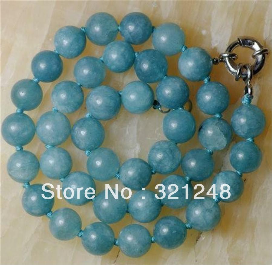 "new 2014 12mm Natural Aquamarine Round Beads Necklace 18""AAA GE1036(China (Mainland))"