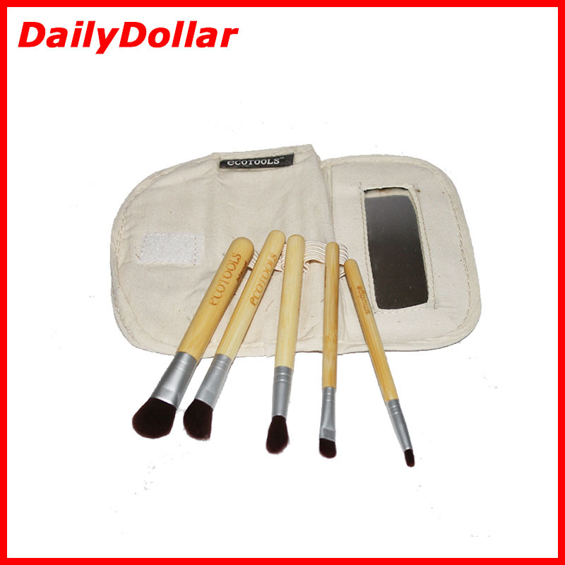 2015 Hot Sale 6 PCS Earth-Friendly Bamboo Eye Brush Set Soft Goat Hair make up tools kit Cosmetic Brush With a Mirror MBT-049(China (Mainland))