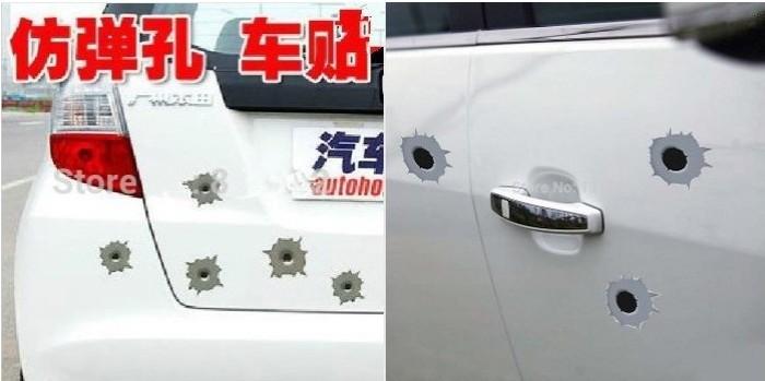 12x NEW Funny Simulation Gun Bullet Hole Stickers Car Stickers fit for AUDI (A1A3A4A5A6A7X3X5X7R8TT) series Car Styling(China (Mainland))