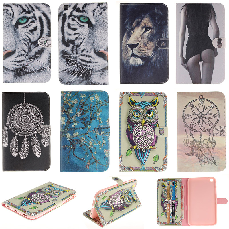 Fashion Cartoon Tiger Lion Pattern PU Leather Flip Case For Samsung Galaxy Tab 3 8.0 SM-T310 SM-T311 Back Cover With Card Holder