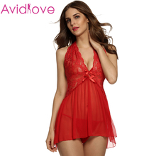 Avidlove Brand Women Lingerie Fashion Sexy See-through Babydoll Halter Backless Lingerie Dress and Matching Thong Set Plus Size