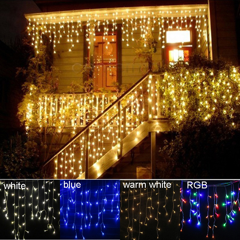 Waterproof 4M 122leds Droop 0.4-0.6m LED Christmas lights Icicle Curtain String Lights for Holiday/Party/Decoration(China (Mainland))