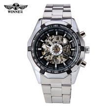 Relojes ganador estrenar moda de acero reloj para hombre automático de Mens mecánico esqueleto vestido de negro blanco del reloj del regalo