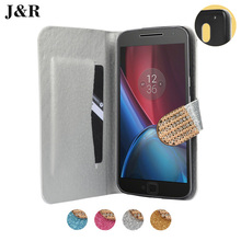 JR motorola Moto G4 Play Cover Case Luxury Women Bling Glitter Wallet Stand Flip PU Leather Fundas para - FKY E Store store