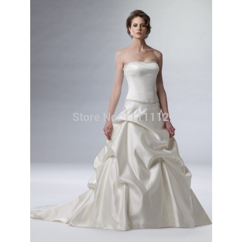 A line strapless beading ruching brush train taffeta for A line wedding dress with ruching